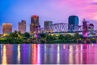 nice picture of the river and a bridge in little rock arkansas